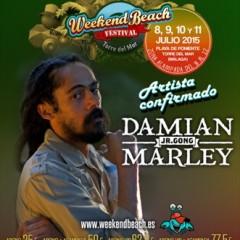 Damian Marley, Jr. Gong estrella internacional del Weekendbeach Festival Torre Del Mar