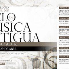 XXI Ciclo de Música antigua,desde el jueves 20 al sábado 29 de abril. A las 20:30 horas en la Sala Orive.