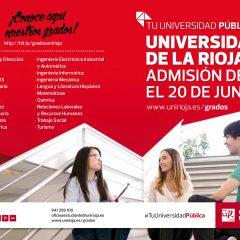 Admisión de grados en la Universidad de La rioja del 20 de junio al 3 de julio