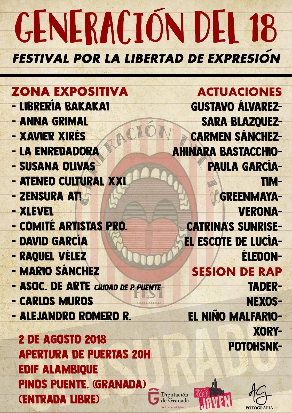 'Generación del 18', Festival por la libertad de expresión en Pinos Puente