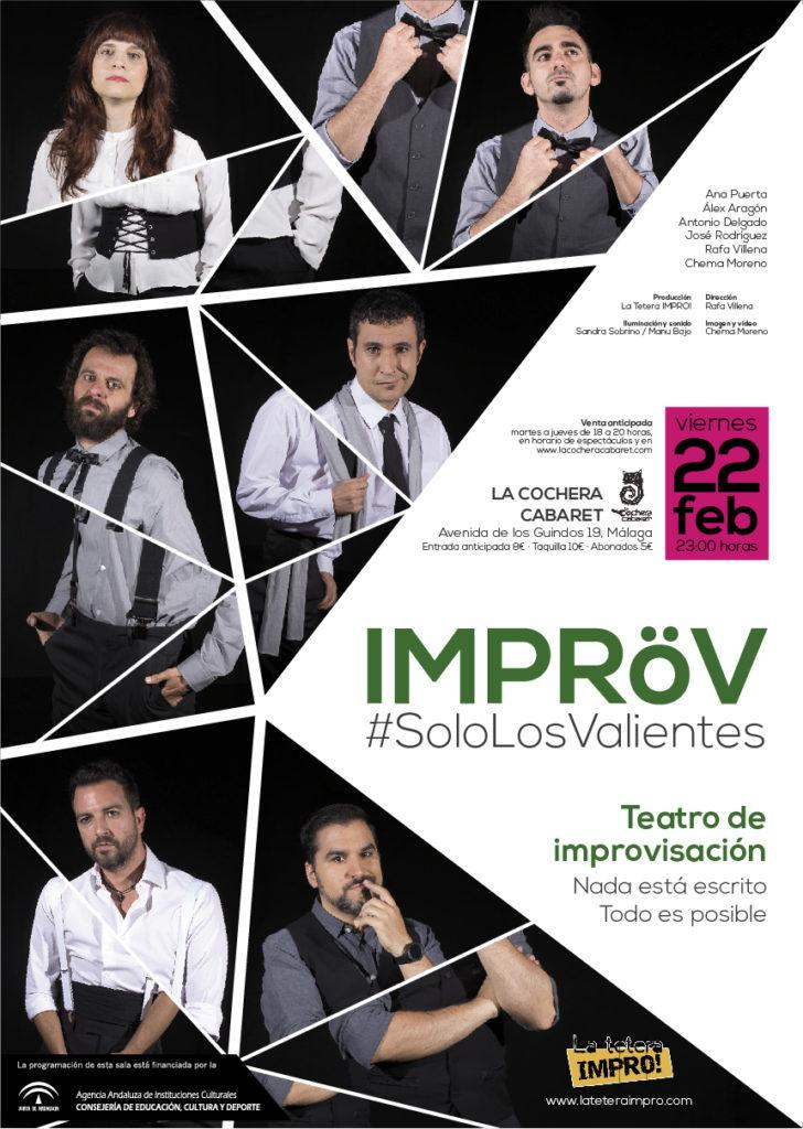 Vuelve IMPRÖV a La Cochera Cabaret.IMPROV #SoloLosValientes es un espectáculo teatral de improvisación basado en estilos y desafíos de impro.