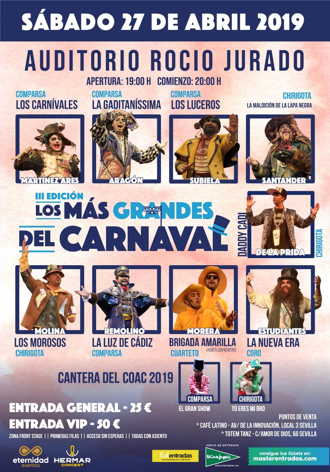 Los más grandes del Carnaval III Edición en el Auditorio Rocío Jurado de Sevilla