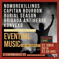 Eventualmusic Born Festival con Nomorekillings + Capitán Bourbon + Burial Season + Brigada Antiheroe + Konvexo en Sala Eventual Music de Málaga