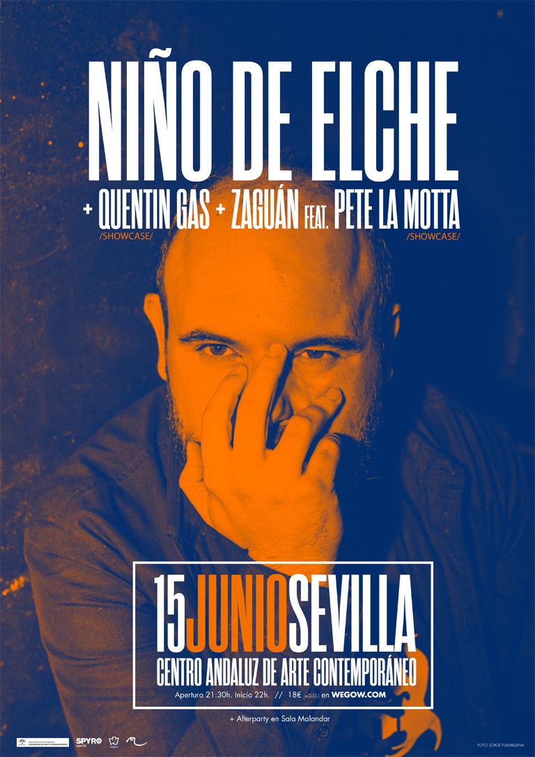 Niño de Elche + Quentin Gas + Zaguán feat. Pete La Motta en concierto en el CAAC de Sevilla