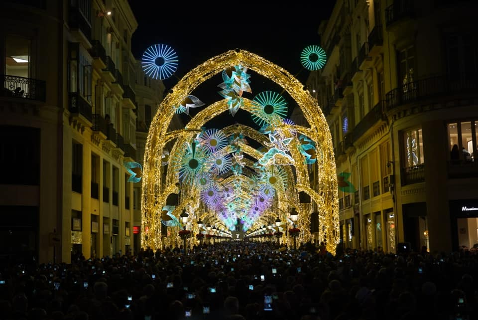 Luces y espectáculos navideños en Marqués de Larios - La Alameda - Alcazabilla en Málaga