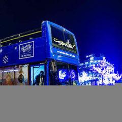 Naviluz, el autobús de la Navidad en Madrid en Plaza Colón
