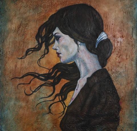 Pinturas de Marta Tapia en la sala de exposiciones del Arco de Santamaría
