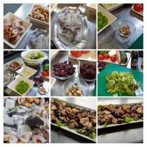 Ensalada templada de mariscos, setas y frutos rojos