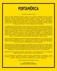 omunicado Portámerica 2020