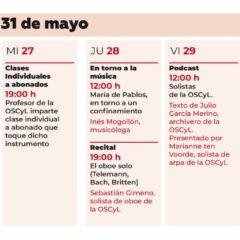 Las Propuestas de la OSCyL para la última semana de Mayo