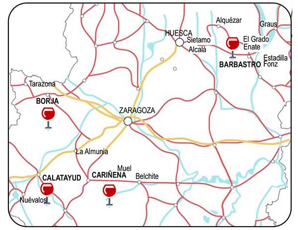 mapa vinos en aragon