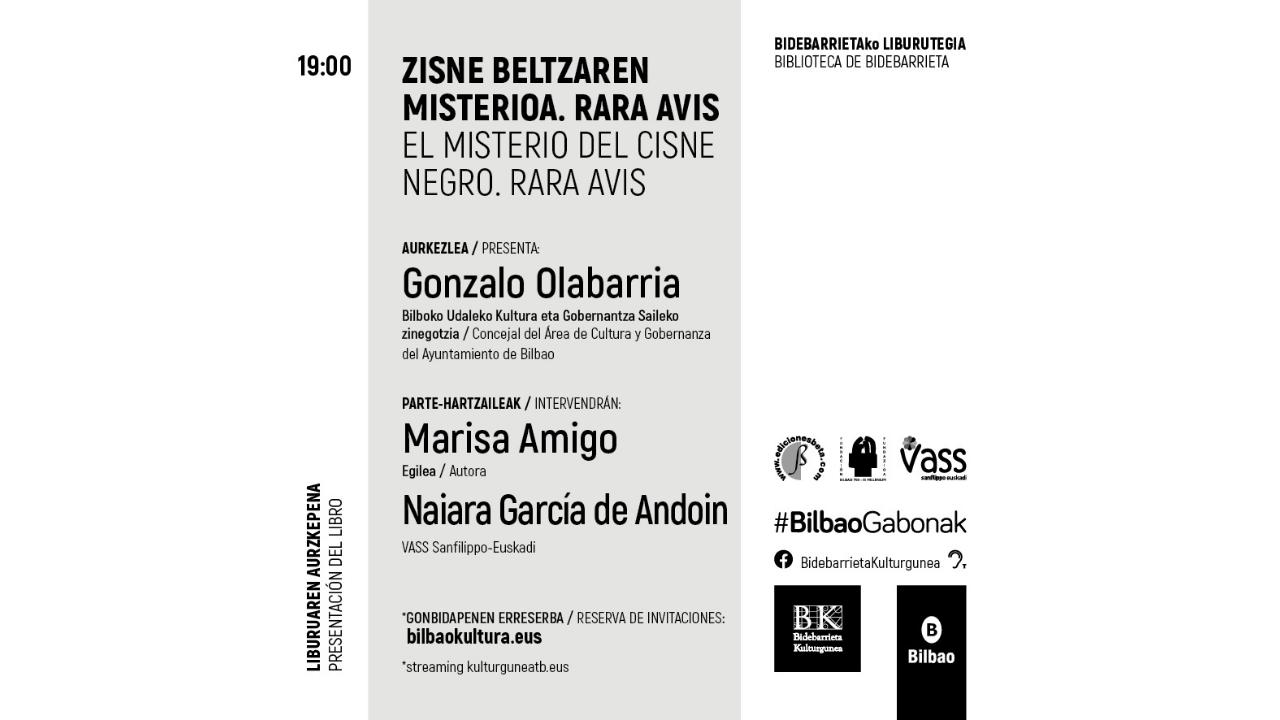 Bidebarrieta Kulturgunea acogerá este martes la presentación de «El misterio del cisne negro. Rara Avis»