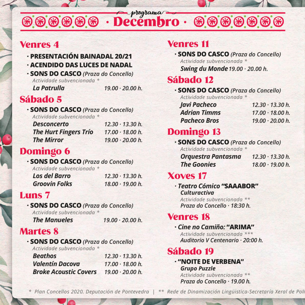 Bai nadal programación cultural Baiona