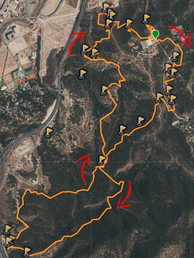 mapa ruta de las trincheras con indicaciones de la ruta