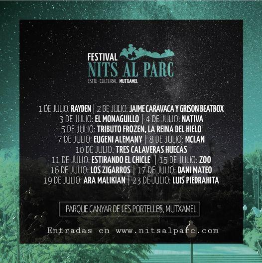 Nits al Parc presenta noches de humor y música en Mutxamel del 1 al 23 de julio
