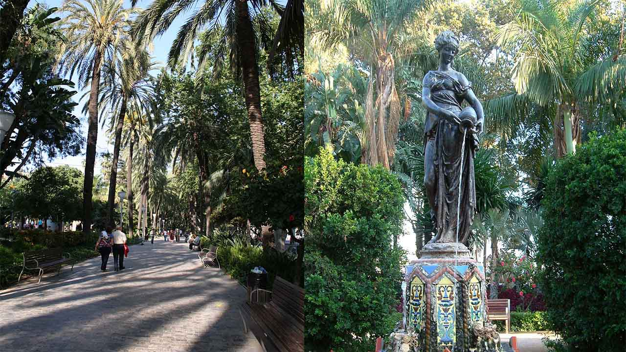 Ninfa del cantaro y Mas detalles Paseo del Parque de Malaga